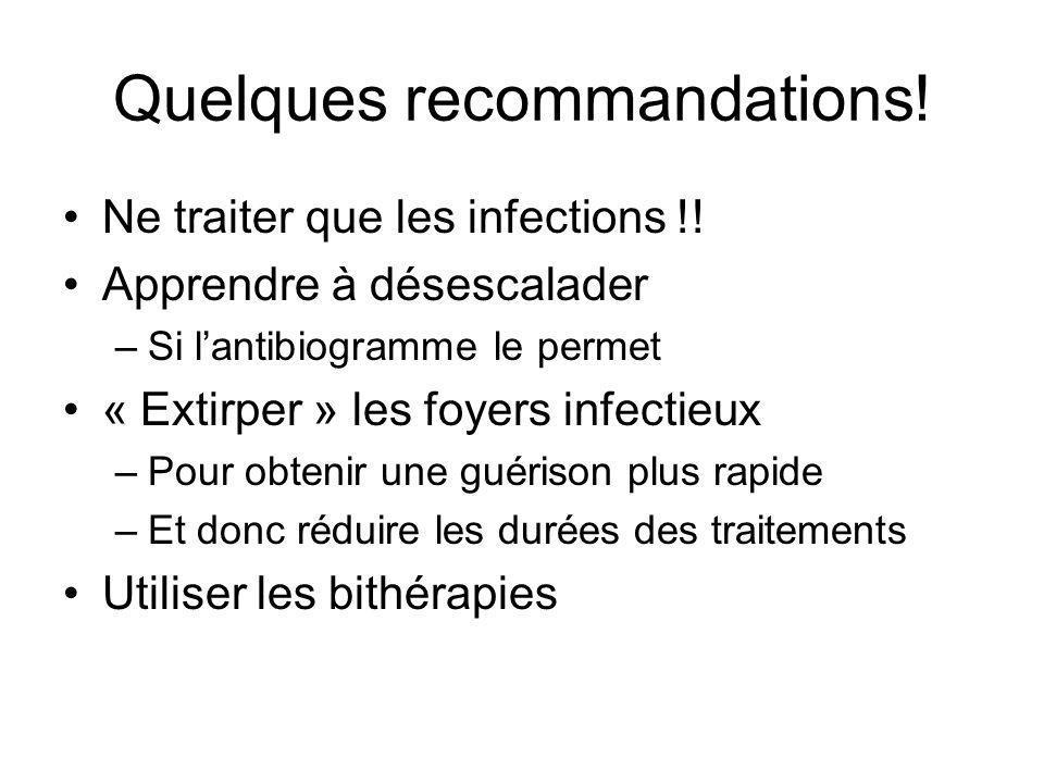Quelques recommandations! Ne traiter que les infections !! Apprendre à désescalader –Si lantibiogramme le permet « Extirper » les foyers infectieux –P