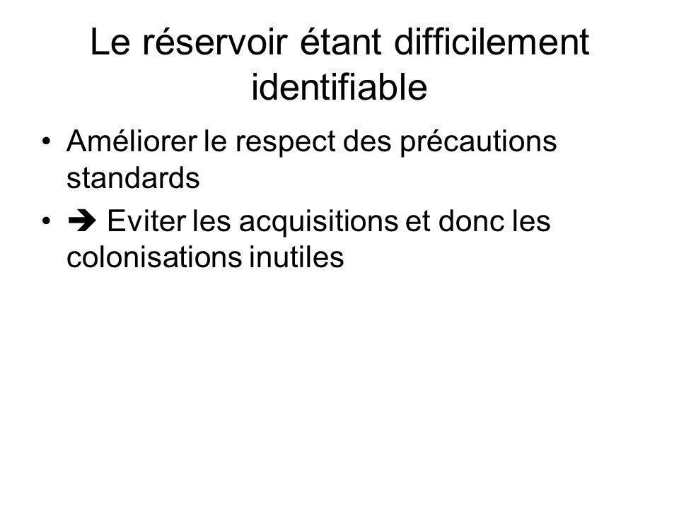 Le réservoir étant difficilement identifiable Améliorer le respect des précautions standards Eviter les acquisitions et donc les colonisations inutile