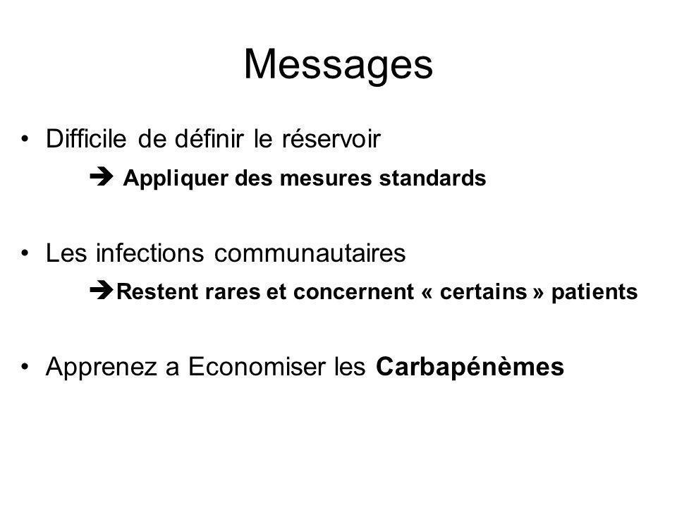 Messages Difficile de définir le réservoir Appliquer des mesures standards Les infections communautaires Restent rares et concernent « certains » pati