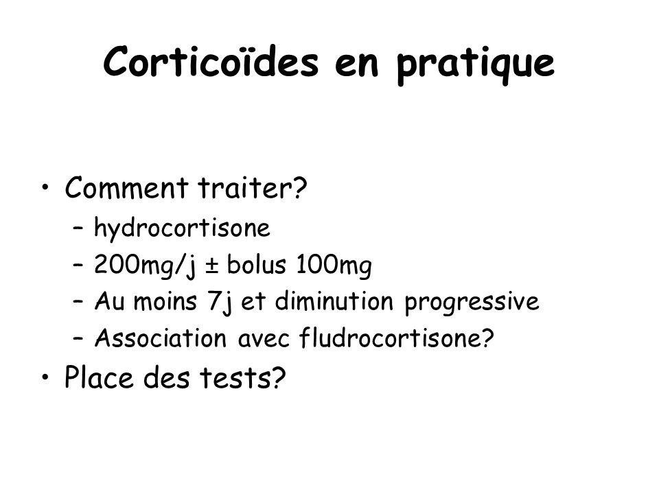 Corticoïdes en pratique Comment traiter? –hydrocortisone –200mg/j ± bolus 100mg –Au moins 7j et diminution progressive –Association avec fludrocortiso