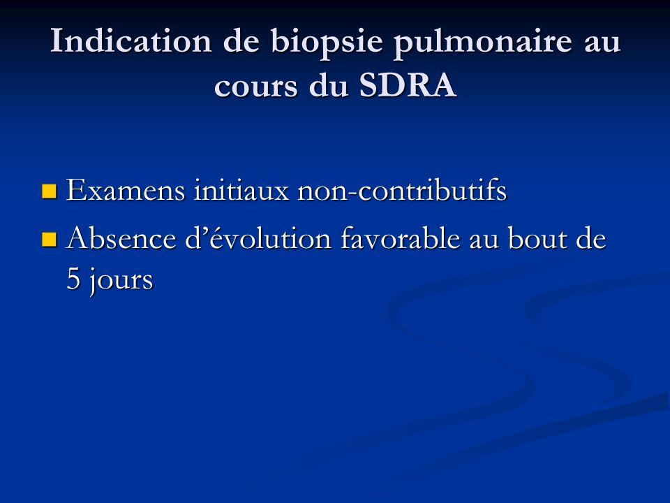 Indication de biopsie pulmonaire au cours du SDRA Examens initiaux non-contributifs Examens initiaux non-contributifs Absence dévolution favorable au