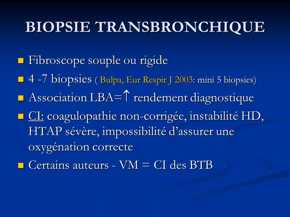 BIOPSIE TRANSBRONCHIQUE Fibroscope souple ou rigide Fibroscope souple ou rigide 4 -7 biopsies ( Bulpa, Eur Respir J 2003: mini 5 biopsies) 4 -7 biopsi