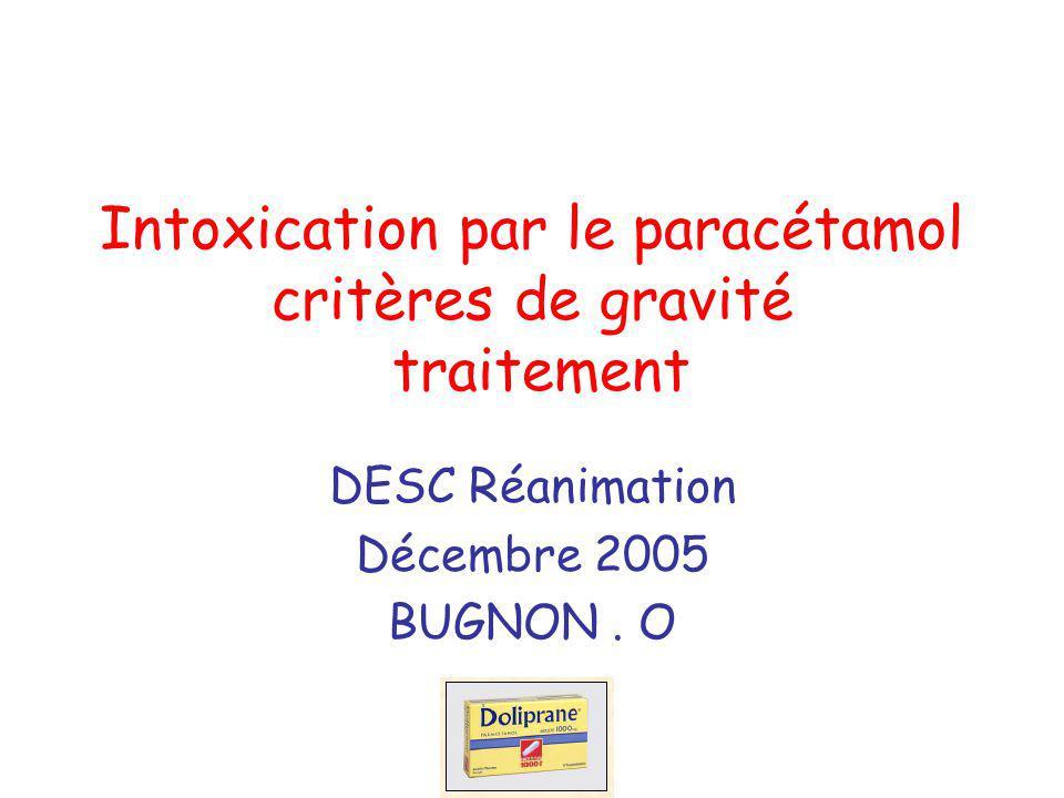 Intoxication par le paracétamol critères de gravité traitement DESC Réanimation Décembre 2005 BUGNON. O