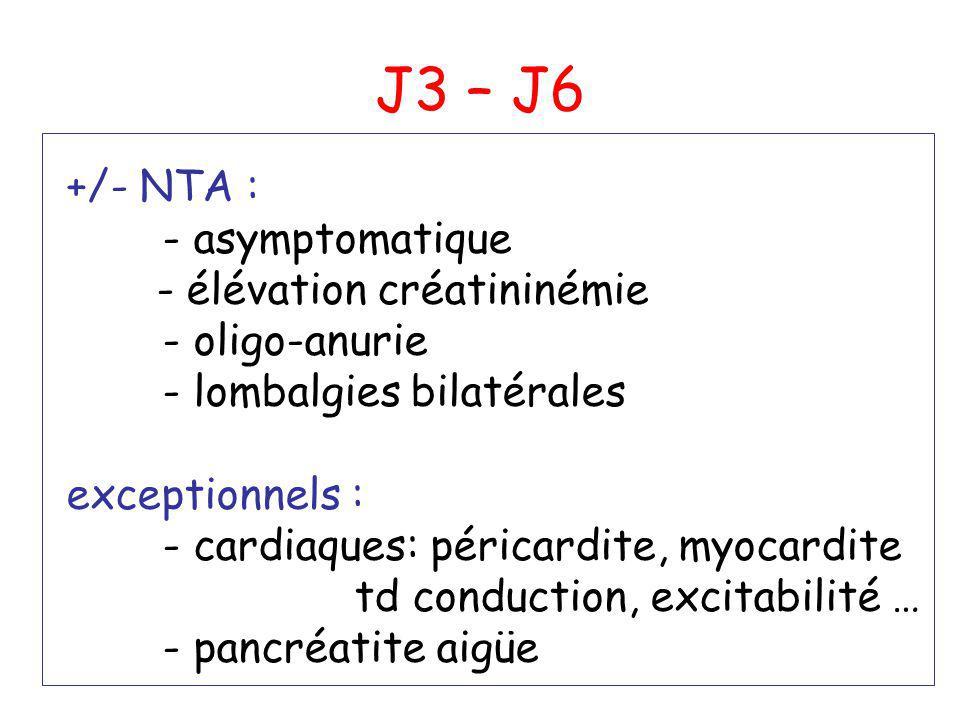 J3 – J6 +/- NTA : - asymptomatique - élévation créatininémie - oligo-anurie - lombalgies bilatérales exceptionnels : - cardiaques: péricardite, myocar