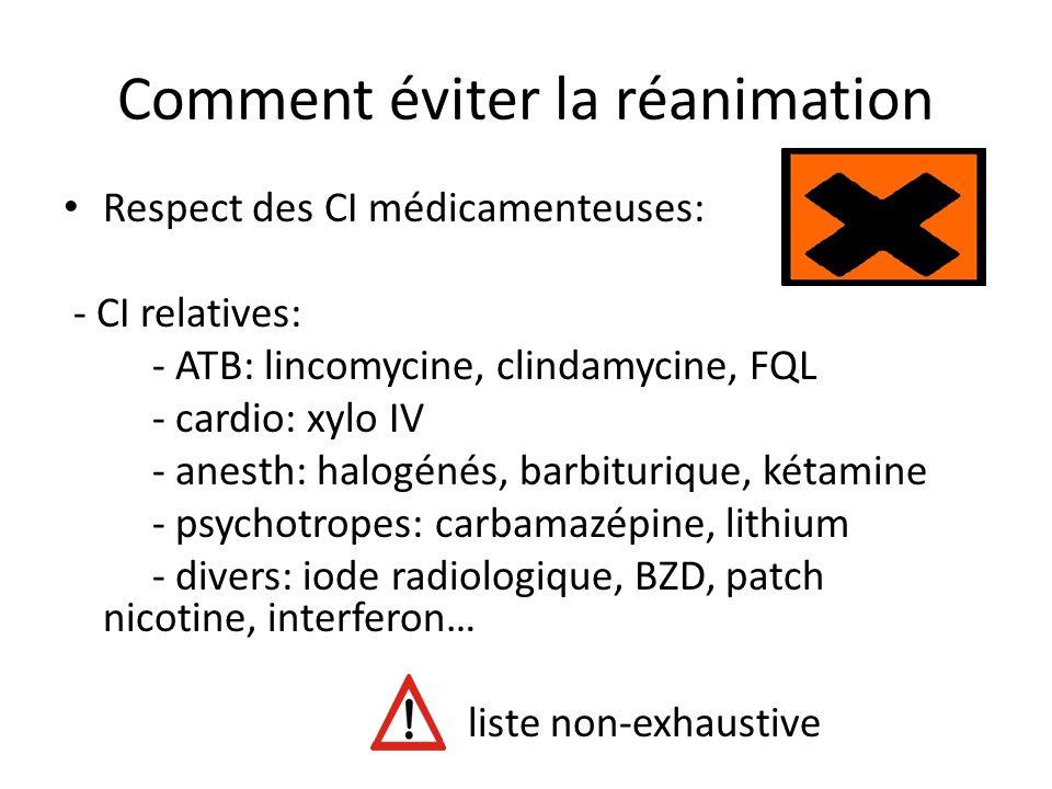 Comment éviter la réanimation Respect des CI médicamenteuses: - CI relatives: - ATB: lincomycine, clindamycine, FQL - cardio: xylo IV - anesth: halogé