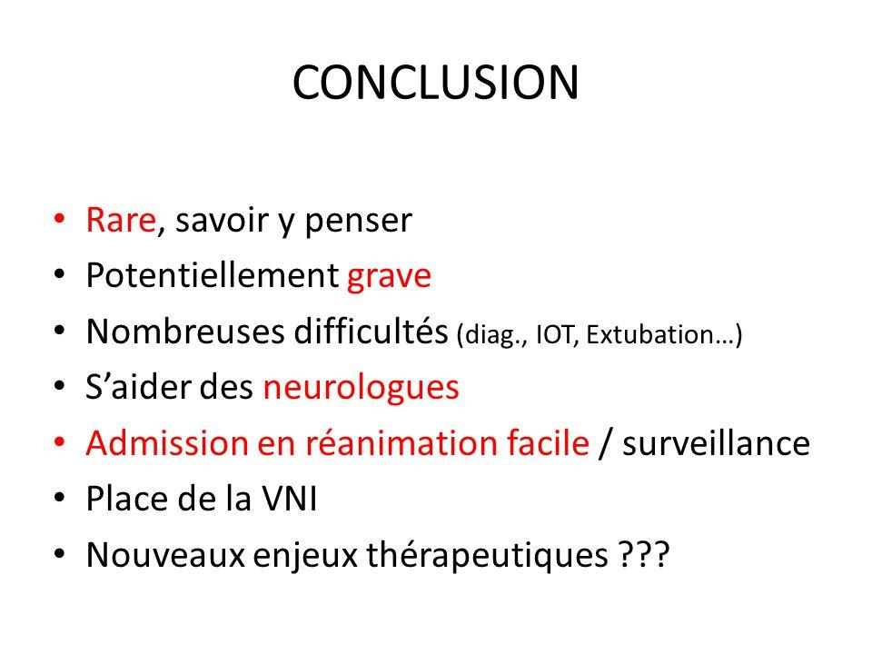 CONCLUSION Rare, savoir y penser Potentiellement grave Nombreuses difficultés (diag., IOT, Extubation…) Saider des neurologues Admission en réanimatio