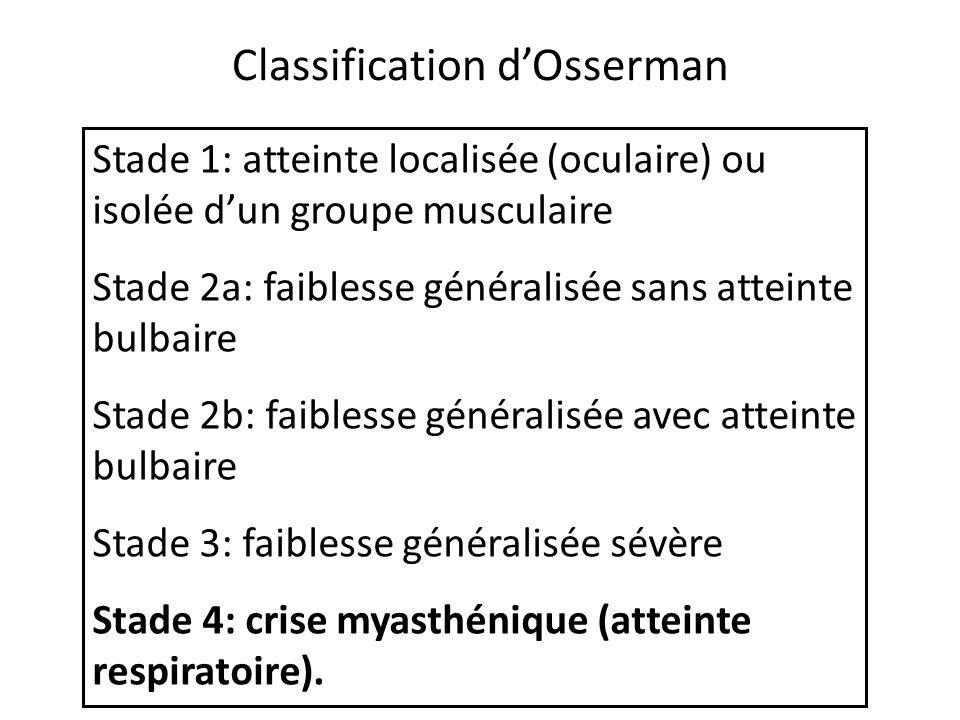 Classification dOsserman Stade 1: atteinte localisée (oculaire) ou isolée dun groupe musculaire Stade 2a: faiblesse généralisée sans atteinte bulbaire