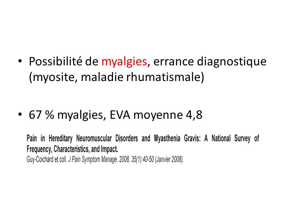 Possibilité de myalgies, errance diagnostique (myosite, maladie rhumatismale) 67 % myalgies, EVA moyenne 4,8
