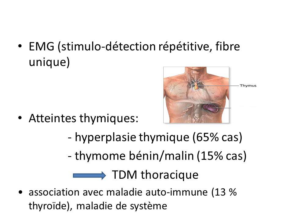 EMG (stimulo-détection répétitive, fibre unique) Atteintes thymiques: - hyperplasie thymique (65% cas) - thymome bénin/malin (15% cas) TDM thoracique