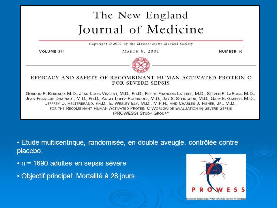 Etude multicentrique, randomisée, en double aveugle, contrôlée contre placebo. n = 1690 adultes en sepsis sévère Objectif principal: Mortalité à 28 jo