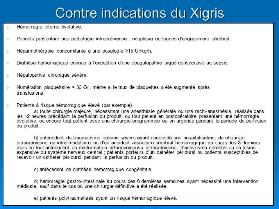 Contre indications du Xigris Hémorragie interne évolutive. Hémorragie interne évolutive. Patients présentant une pathologie intracrânienne ; néoplasie
