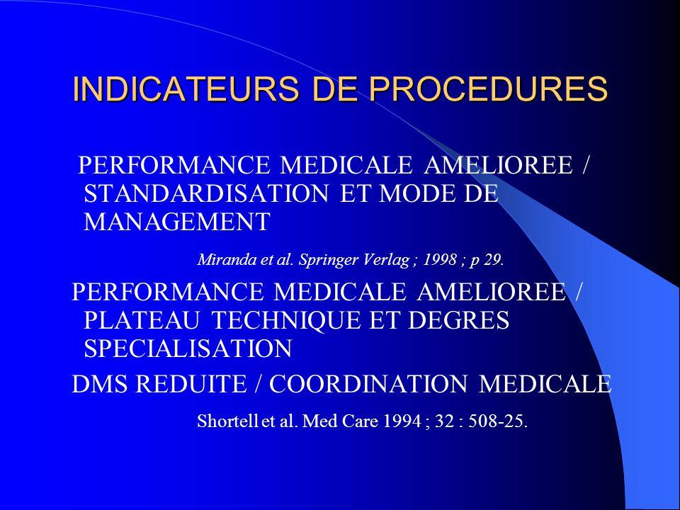 INDICATEURS DE PROCEDURES PERFORMANCE MEDICALE AMELIOREE / STANDARDISATION ET MODE DE MANAGEMENT Miranda et al. Springer Verlag ; 1998 ; p 29. PERFORM