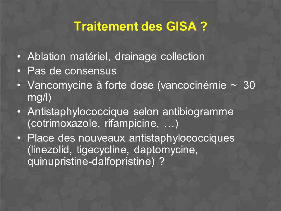 Traitement des GISA ? Ablation matériel, drainage collection Pas de consensus Vancomycine à forte dose (vancocinémie ~ 30 mg/l) Antistaphylococcique s