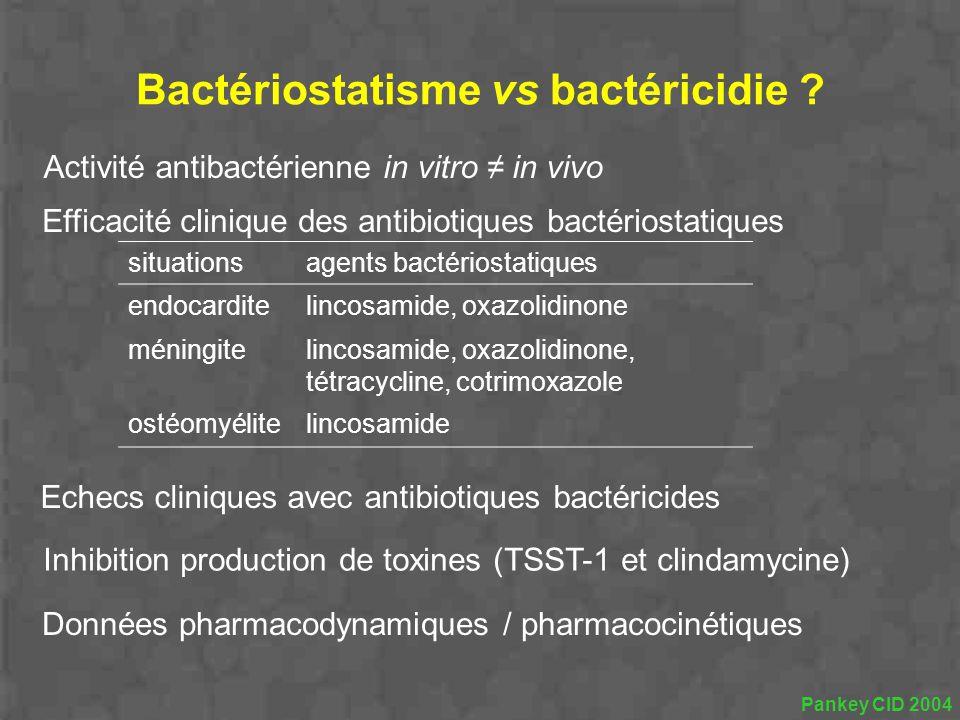 Activité antibactérienne in vitro in vivo Efficacité clinique des antibiotiques bactériostatiques situationsagents bactériostatiques endocarditelincos