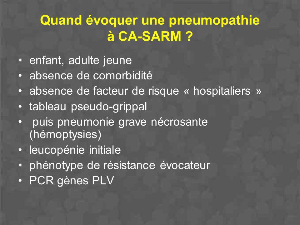 Quand évoquer une pneumopathie à CA-SARM ? enfant, adulte jeune absence de comorbidité absence de facteur de risque « hospitaliers » tableau pseudo-gr
