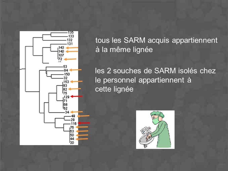 tous les SARM acquis appartiennent à la même lignée les 2 souches de SARM isolés chez le personnel appartiennent à cette lignée