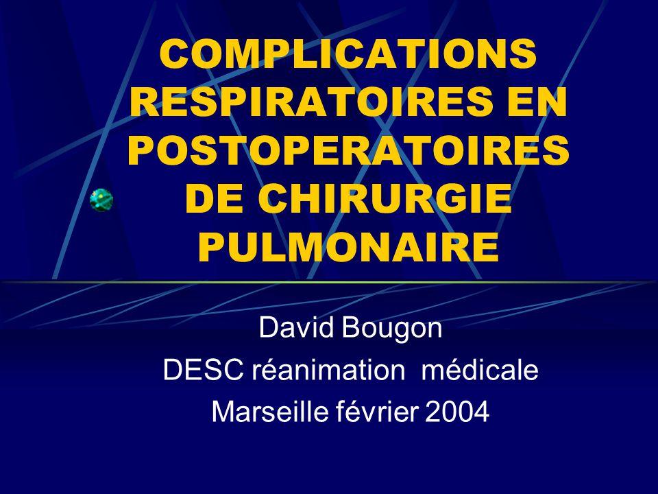 COMPLICATIONS RESPIRATOIRES EN POSTOPERATOIRES DE CHIRURGIE PULMONAIRE David Bougon DESC réanimation médicale Marseille février 2004