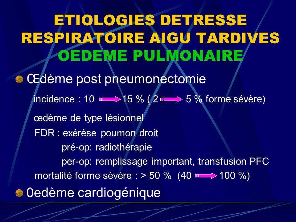 ETIOLOGIES DETRESSE RESPIRATOIRE AIGU TARDIVES OEDEME PULMONAIRE Œdème post pneumonectomie incidence : 10 15 % ( 2 5 % forme sévère) œdème de type lés