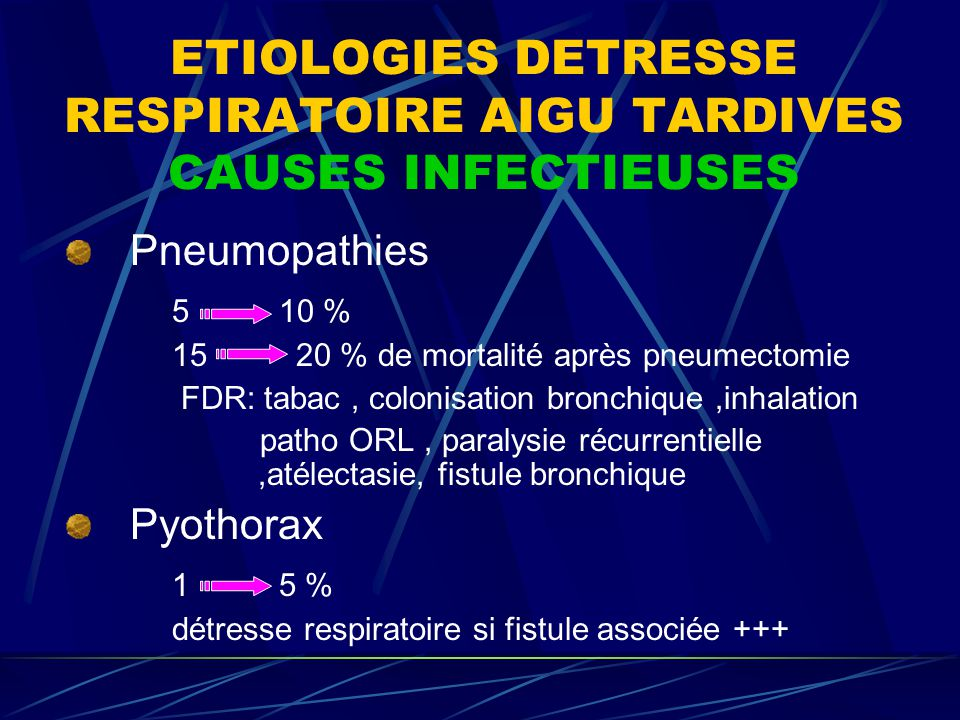 ETIOLOGIES DETRESSE RESPIRATOIRE AIGU TARDIVES CAUSES INFECTIEUSES Pneumopathies 5 10 % 15 20 % de mortalité après pneumectomie FDR: tabac, colonisation bronchique,inhalation patho ORL, paralysie récurrentielle,atélectasie, fistule bronchique Pyothorax 1 5 % détresse respiratoire si fistule associée +++