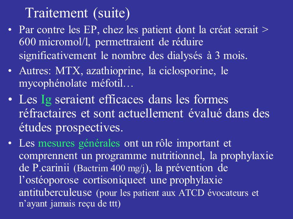 Traitement (suite) Par contre les EP, chez les patient dont la créat serait > 600 micromol/l, permettraient de réduire significativement le nombre des