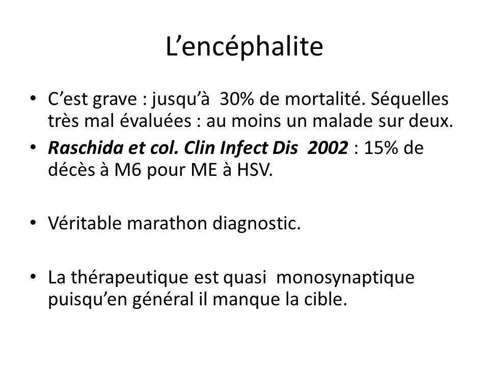 Lencéphalite Cest grave : jusquà 30% de mortalité. Séquelles très mal évaluées : au moins un malade sur deux. Raschida et col. Clin Infect Dis 2002 :