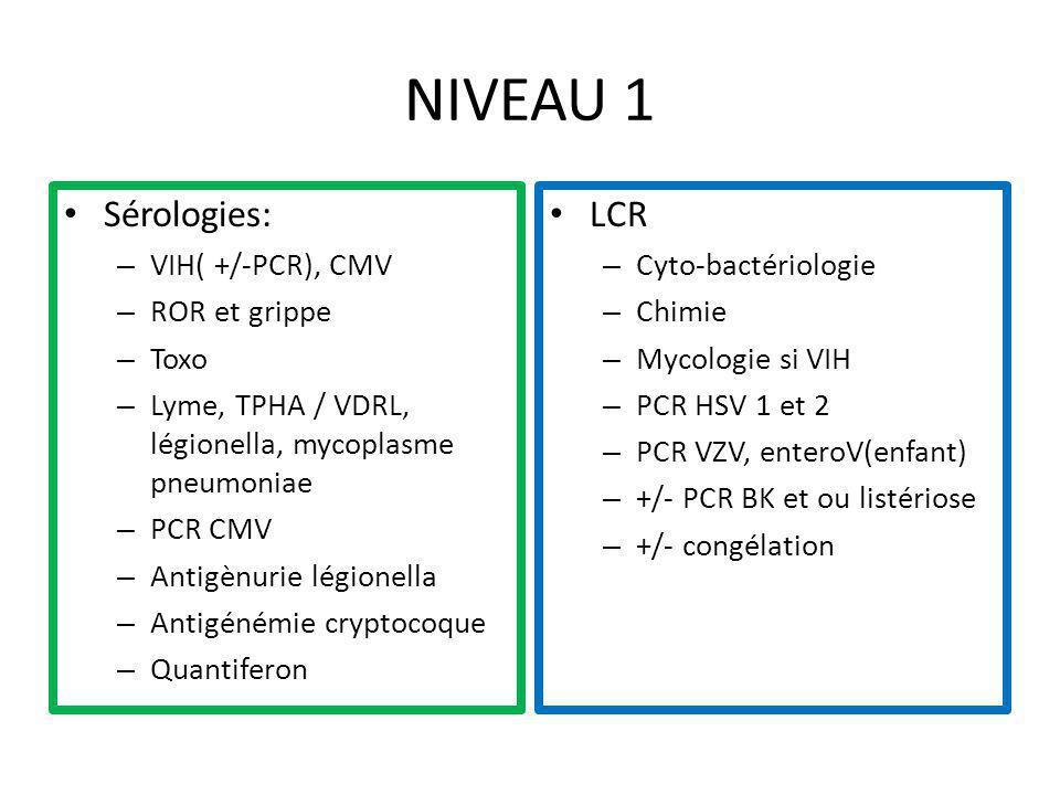 NIVEAU 1 Sérologies: – VIH( +/-PCR), CMV – ROR et grippe – Toxo – Lyme, TPHA / VDRL, légionella, mycoplasme pneumoniae – PCR CMV – Antigènurie légione