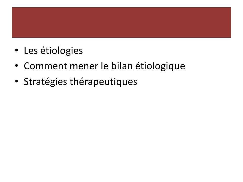 Les étiologies Comment mener le bilan étiologique Stratégies thérapeutiques