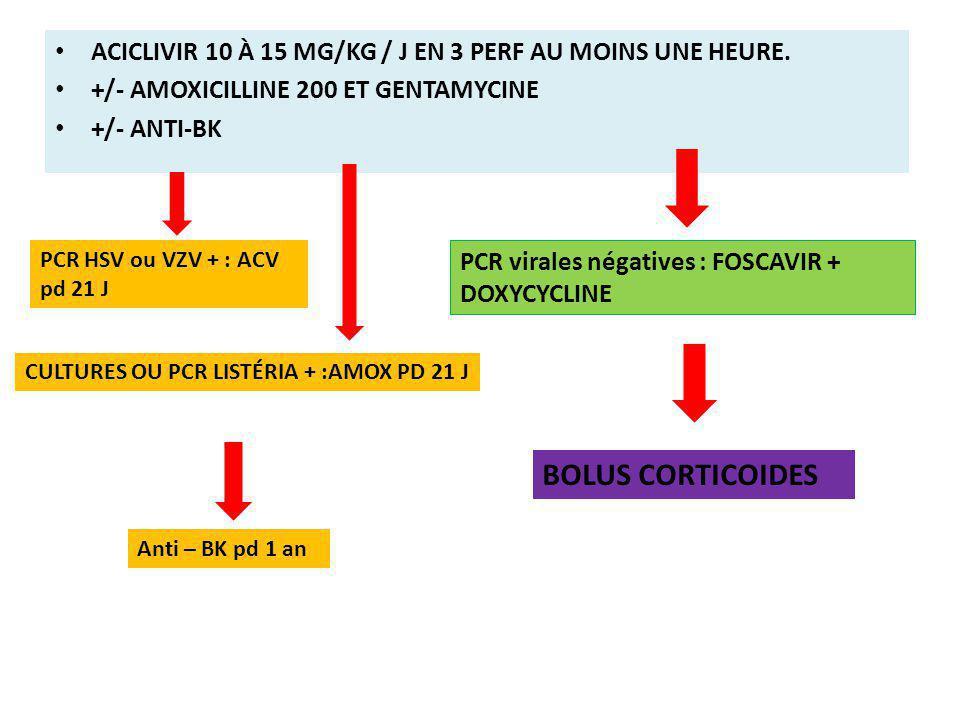 ACICLIVIR 10 À 15 MG/KG / J EN 3 PERF AU MOINS UNE HEURE. +/- AMOXICILLINE 200 ET GENTAMYCINE +/- ANTI-BK PCR HSV ou VZV + : ACV pd 21 J CULTURES OU P