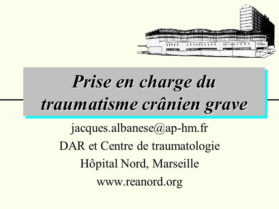 Prise en charge de l HIC chez les traumatisés crâniens graves HIC réfractaire Craniectomie décompressive TDM cérébrale Turgescence cérébrale Fermeture par plastie de dure-mère artificielle