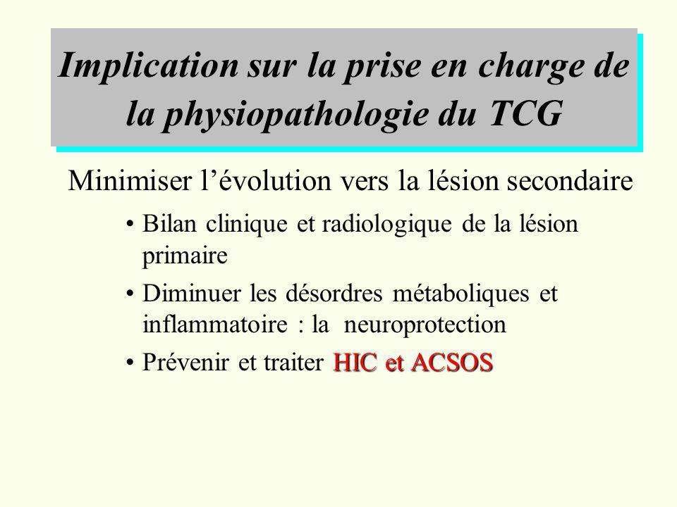 Implication sur la prise en charge de la physiopathologie du TCG Bilan clinique et radiologique de la lésion primaire Diminuer les désordres métaboliq