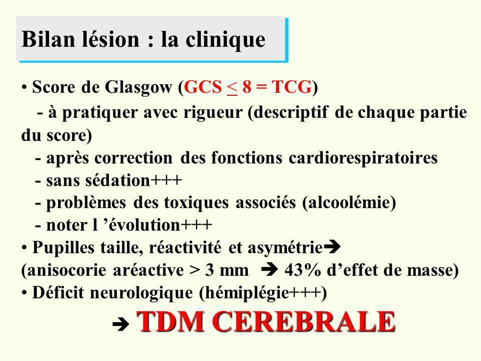 Bilan lésion : la clinique Score de Glasgow (GCS < 8 = TCG) - à pratiquer avec rigueur (descriptif de chaque partie du score) - après correction des f