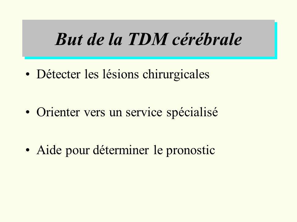 But de la TDM cérébrale Détecter les lésions chirurgicales Orienter vers un service spécialisé Aide pour déterminer le pronostic