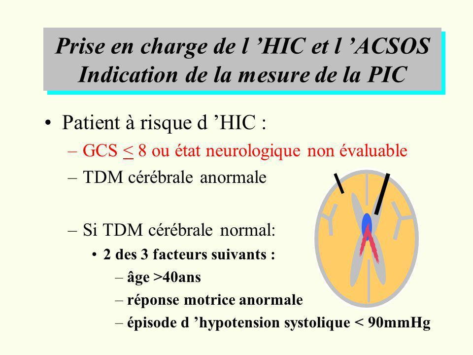 Prise en charge de l HIC et l ACSOS Indication de la mesure de la PIC Patient à risque d HIC : –GCS < 8 ou état neurologique non évaluable –TDM cérébr