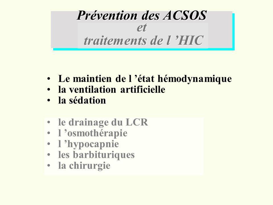 Le maintien de l état hémodynamique la ventilation artificielle la sédationla sédation le drainage du LCR l osmothérapie l hypocapnie les barbiturique