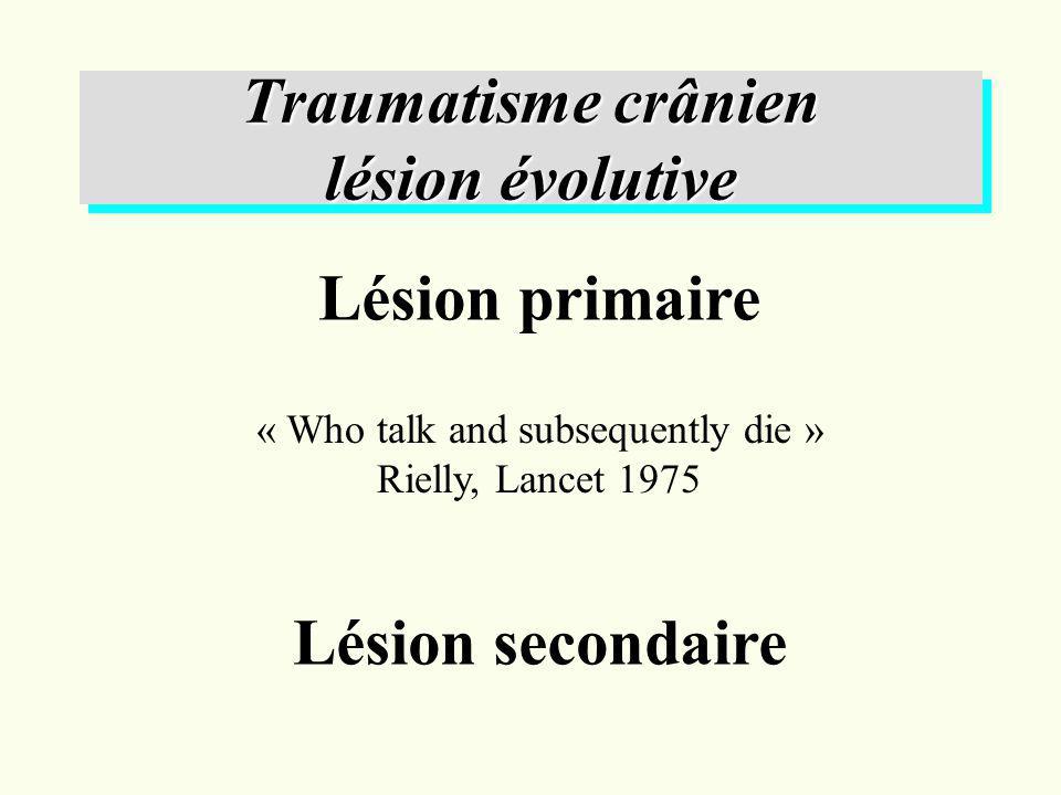 Classification de la TDM cérébrale selon le TCDB Lésion I TDM normale Lésions II lésions hyperdenses <25 ml Lésions III compression des citernes de la base Lésions IV effet de masse ( Déplacement de la ligne médiane < 5 mm ) Lésions hyperdenses >25ml: Lésions chirurgicales Lésions non chirurgicales