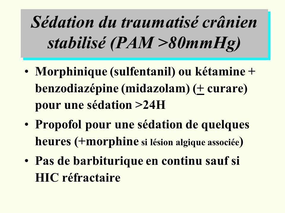 Sédation du traumatisé crânien stabilisé (PAM >80mmHg) Morphinique (sulfentanil) ou kétamine + benzodiazépine (midazolam) (+ curare) pour une sédation