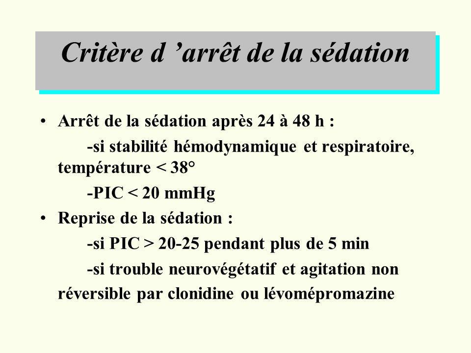 Critère d arrêt de la sédation Arrêt de la sédation après 24 à 48 h : -si stabilité hémodynamique et respiratoire, température < 38° -PIC < 20 mmHg Re