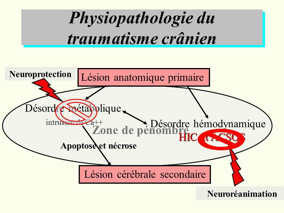 Désordre du métabolisme cellulaire Hypertension intracrânienne et Agression Cérébrale Secondaire dOrigine Systémique ŒDEME VASOGENIQUE HEMATOME VASODILATATION HYPOTENSION HYPOXEMIE ISCHEMIE CEREBRALE ŒDEME CYTOTOXIQUE HYPERTENSION INTRACRANIENNE PPC HYPOCAPNIE HYPERCAPNIE ŒDÈME CYTOTOXIQUE ŒDÈME HYPOOSMOTIQUE ŒDEME INTERSTITIEL