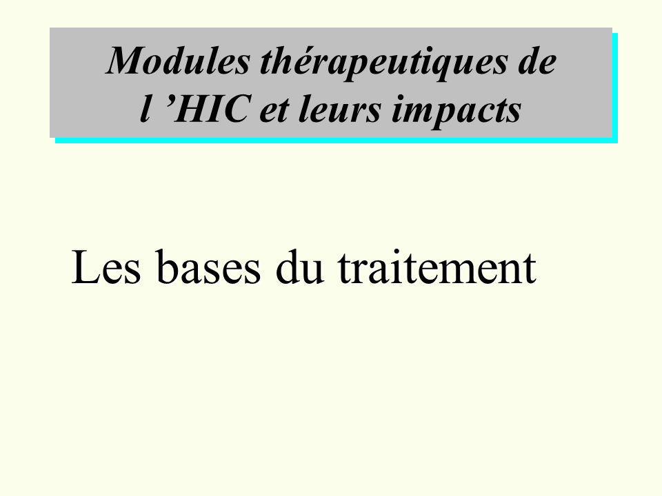 Modules thérapeutiques de l HIC et leurs impacts Les bases du traitement