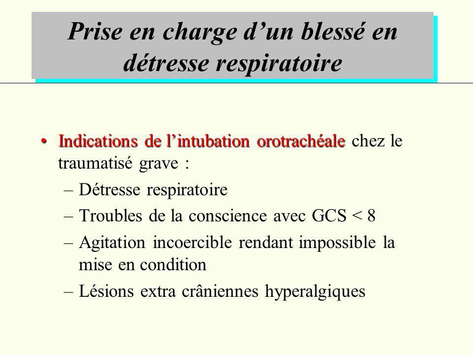 Indications de lintubation orotrachéaleIndications de lintubation orotrachéale chez le traumatisé grave : –Détresse respiratoire –Troubles de la consc