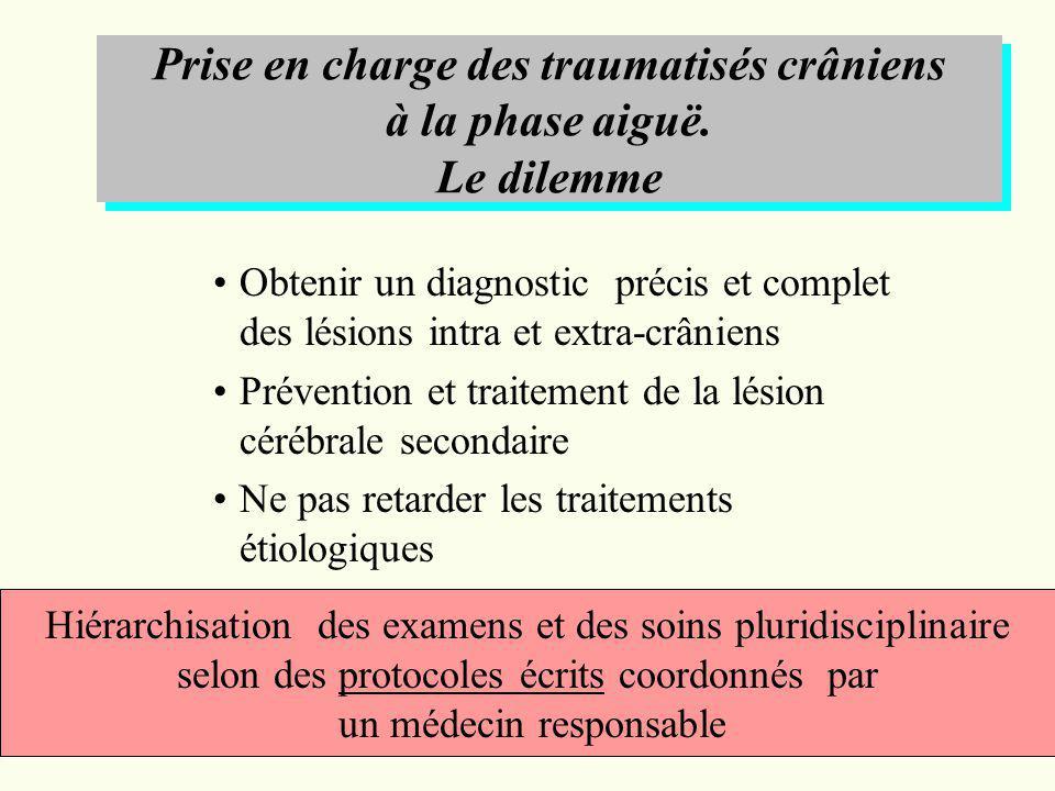 Obtenir un diagnostic précis et complet des lésions intra et extra-crâniens Prévention et traitement de la lésion cérébrale secondaire Ne pas retarder
