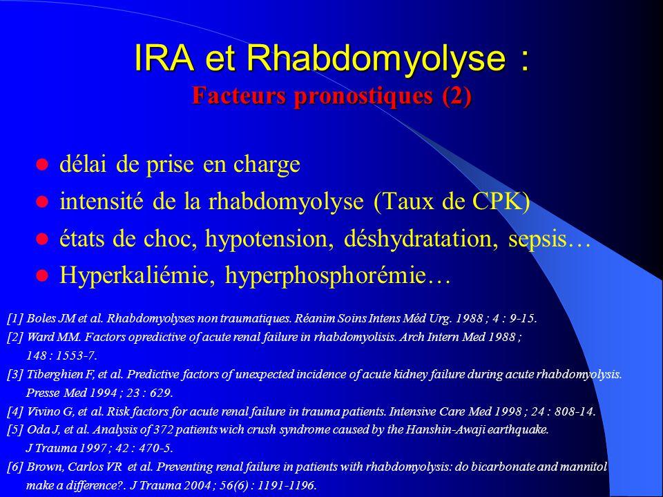 IRA et Rhabdomyolyse : Facteurs pronostiques (2) délai de prise en charge intensité de la rhabdomyolyse (Taux de CPK) états de choc, hypotension, désh