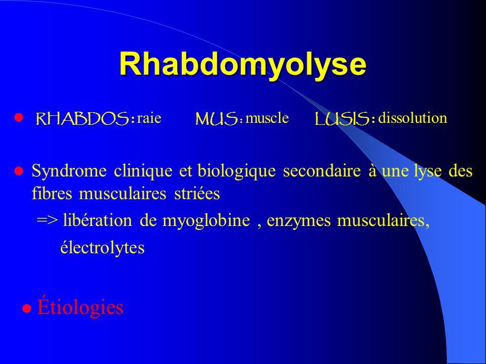 Rhabdomyolyse RHABDOS : raie MUS : muscle LUSIS : dissolution Syndrome clinique et biologique secondaire à une lyse des fibres musculaires striées =>
