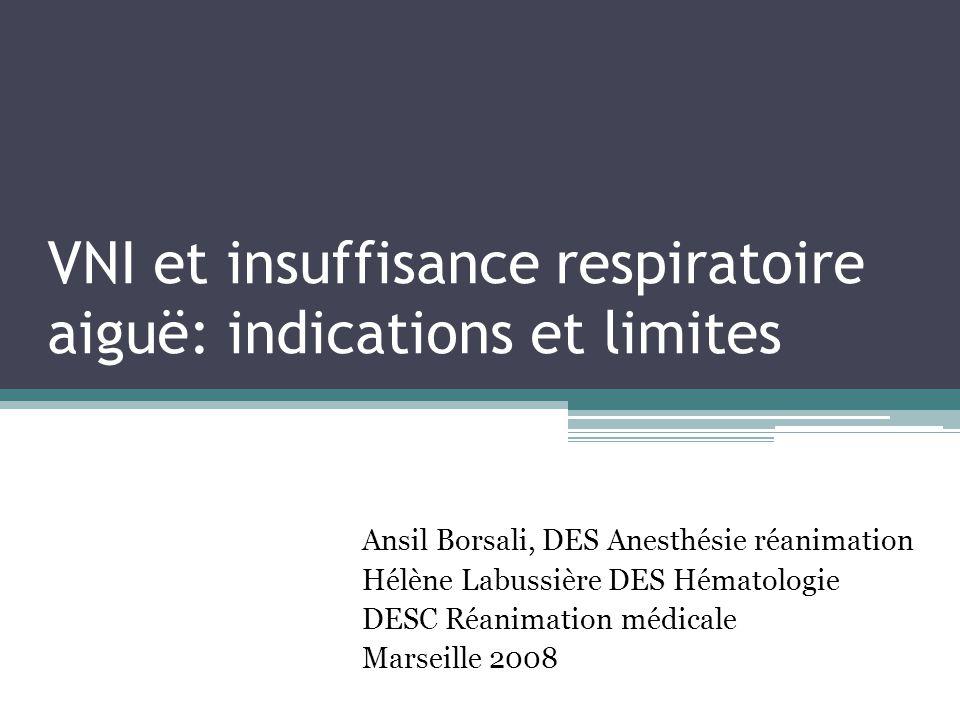 VNI et insuffisance respiratoire aiguë: indications et limites Ansil Borsali, DES Anesthésie réanimation Hélène Labussière DES Hématologie DESC Réanimation médicale Marseille 2008