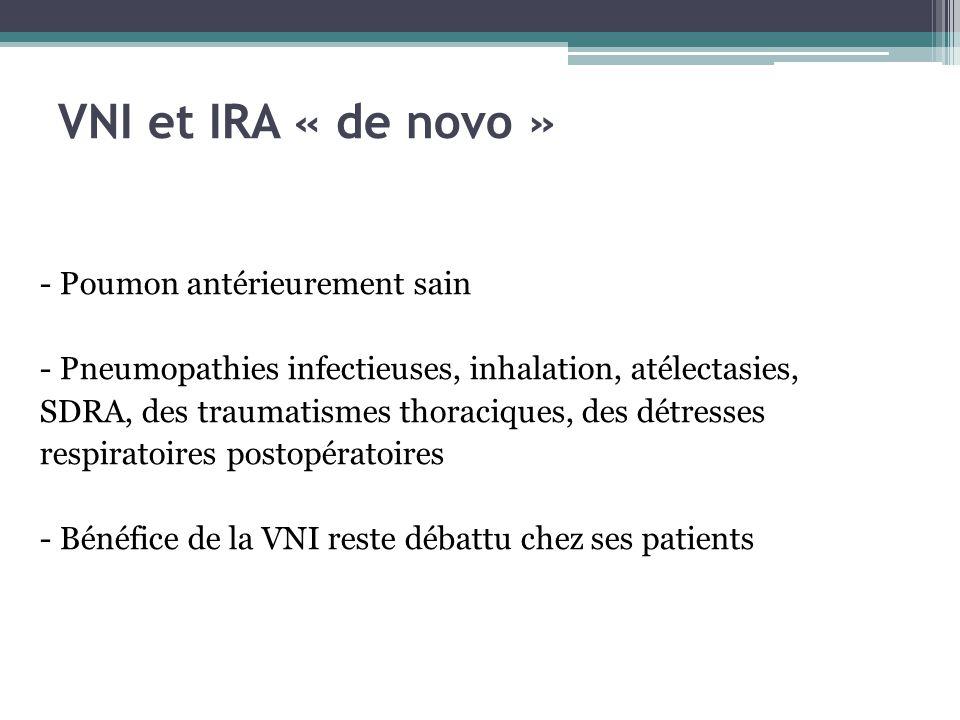VNI et IRA « de novo » - Poumon antérieurement sain - Pneumopathies infectieuses, inhalation, atélectasies, SDRA, des traumatismes thoraciques, des détresses respiratoires postopératoires - Bénéfice de la VNI reste débattu chez ses patients