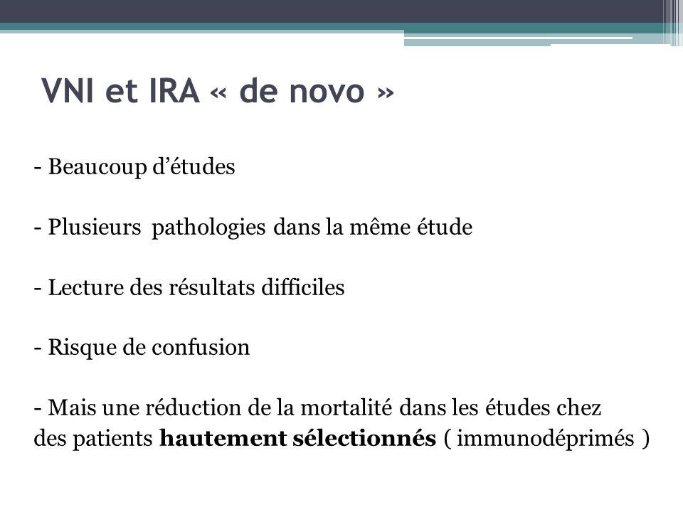VNI et IRA « de novo » - Beaucoup détudes - Plusieurs pathologies dans la même étude - Lecture des résultats difficiles - Risque de confusion - Mais une réduction de la mortalité dans les études chez des patients hautement sélectionnés ( immunodéprimés )
