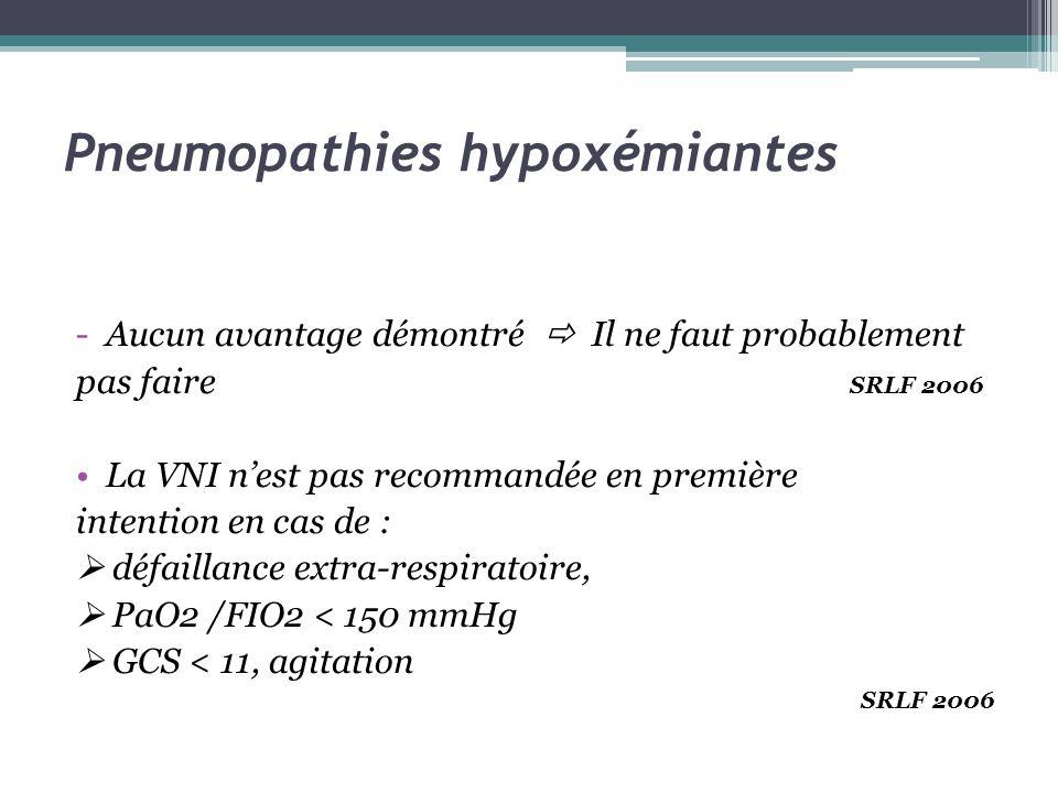 Pneumopathies hypoxémiantes -Aucun avantage démontré Il ne faut probablement pas faire SRLF 2006 La VNI nest pas recommandée en première intention en cas de : défaillance extra-respiratoire, PaO2 /FIO2 < 150 mmHg GCS < 11, agitation SRLF 2006