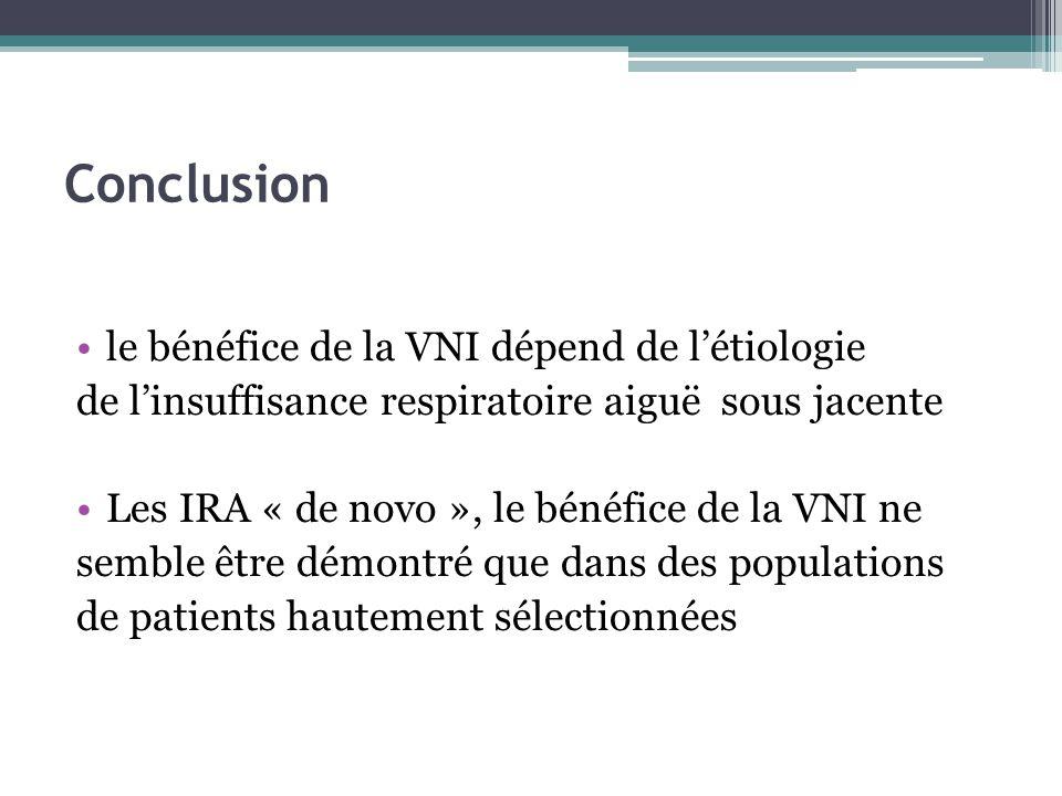 Conclusion le bénéfice de la VNI dépend de létiologie de linsuffisance respiratoire aiguë sous jacente Les IRA « de novo », le bénéfice de la VNI ne semble être démontré que dans des populations de patients hautement sélectionnées