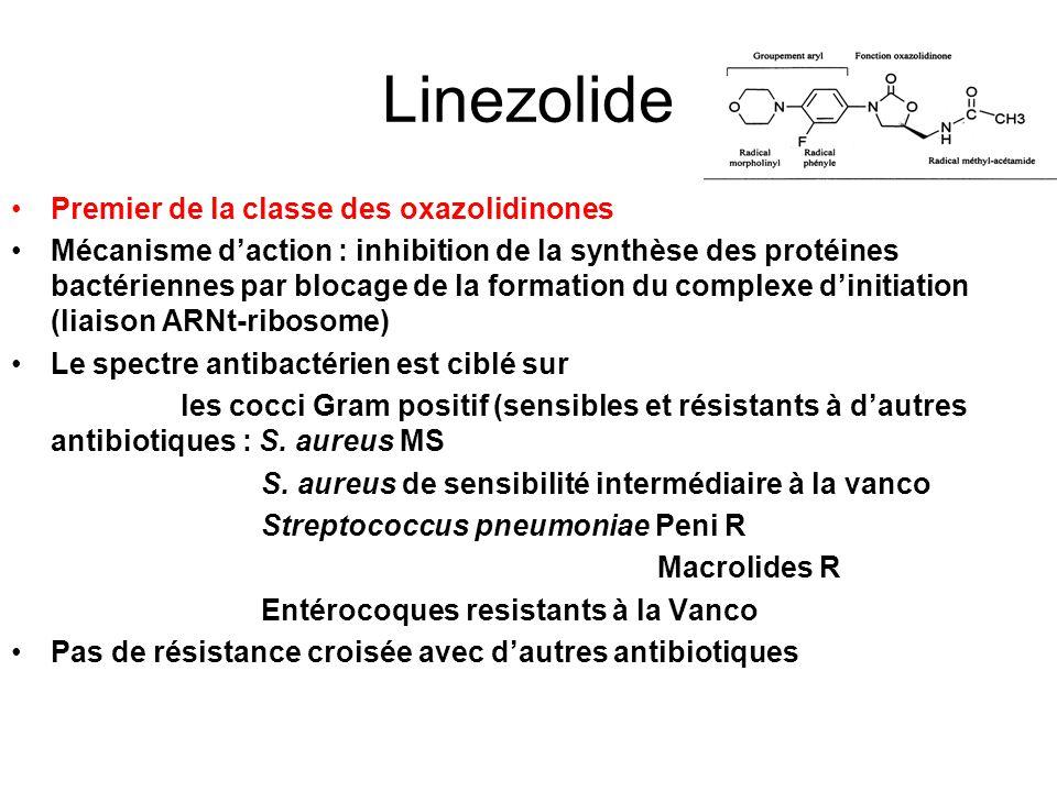 Linezolide Premier de la classe des oxazolidinones Mécanisme daction : inhibition de la synthèse des protéines bactériennes par blocage de la formatio