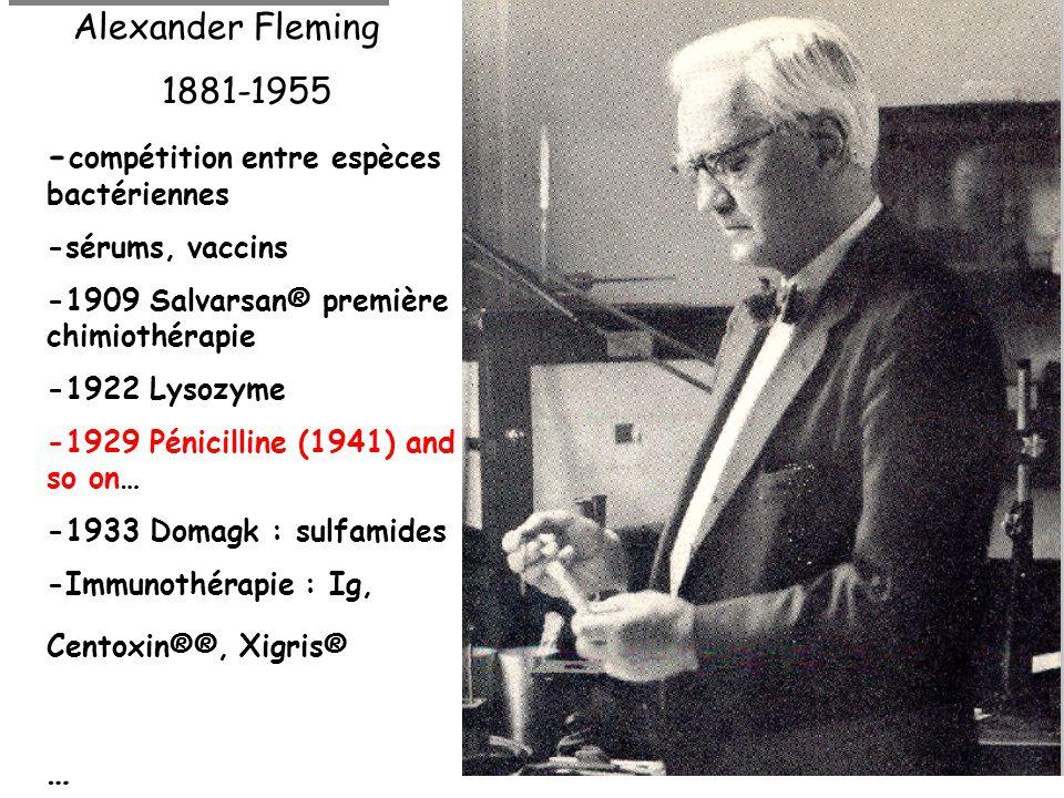 Alexander Fleming 1881-1955 - compétition entre espèces bactériennes -sérums, vaccins -1909 Salvarsan® première chimiothérapie -1922 Lysozyme -1929 Pénicilline (1941) and so on… -1933 Domagk : sulfamides -Immunothérapie : Ig, Centoxin®®, Xigris® …